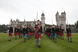 CAPTION: Cadets from the Massed Cadets' Pipes and Drums drawn for the Army Cadet Force and Air Training Corps carried out a Beat Retreat at Balmoral Castle in the presence of Her Majesty The Queen, His Royal Highness Duke of York and Princess Beatrice  DATE: 08/08/14 LOCATION:  RAF Leuchars ORIGINATOR: Colonel Miller, Highland Reserve Forces and Cadets' Association. PHOTOGRAPHER: Cpl Dave Blackburn, RAF For further information contact the RAF Leuchars Media Communications Officer on (+44) 01334 83 7700, or SNCO IC Photographic RAF Leuchars on (+44) 01334 83 7376.